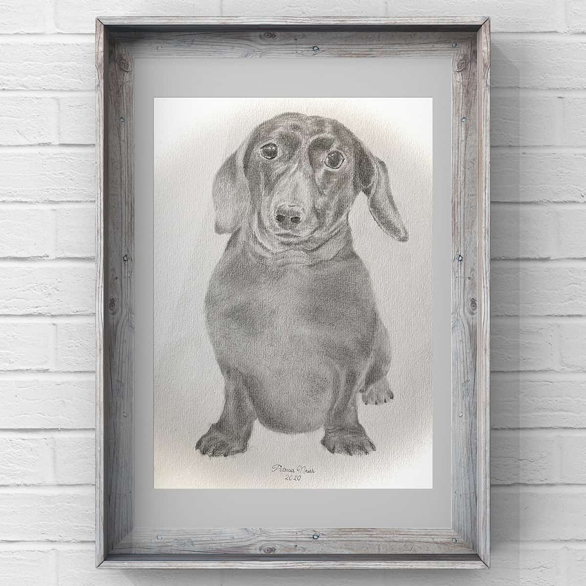 dog artist drawing service pet art portrait pencil charcoal